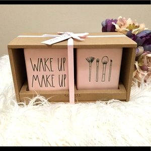 RAE DUNN Wake Up Make Up Brush Cups Holders Pink